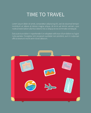 Time to travel luggage with sticker poster with text sample vector. Baggage with airplane, Egypt sign and Rome Colosseum sightseeing in countries 일러스트