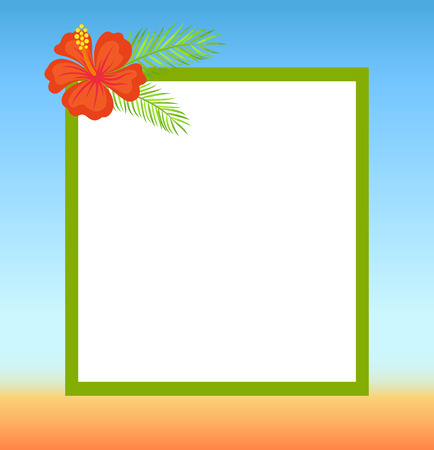 Frame topped by red flower, summertime border. Vector spare place for text on background of blue sky and yellow sand. Blooming tropical bud decoration