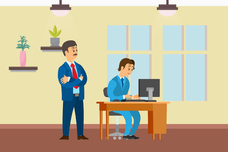 Boss watching working process of novice worker vector. Office interior with decoration plants and window. Employer and employee on first day on job Çizim