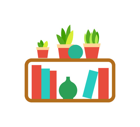 Bookshelf template, colorful hardcovers, hanging wooden shelf with houseplants and vases on white, home library, decoration elements, literature vector