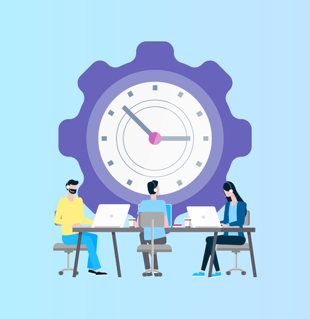Time management vector, online support workers in headphones at laptop. Clock and men and woman in headphone with computers on desktop, fast efficiency Иллюстрация