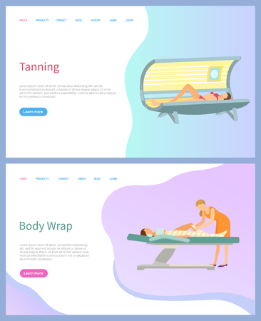 Tanning and body wrap vector, beauty services salon web page. Solarium and procedure table with wrapping types, skincare and artificial tan, women. Website or webpage template landing page in flat Archivio Fotografico - 117383211