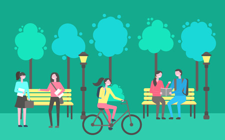 Park activities vector, people sitting and chatting outdoors. Trees and lanterns, wooden benches, lady riding bicycle, woman holding paper notebook Archivio Fotografico - 125057300