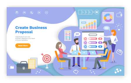 Create business proposal website, teamwork and strategy. Men and women working at table with laptop, diagram icons, financial web page template vector. Landing page in flat
