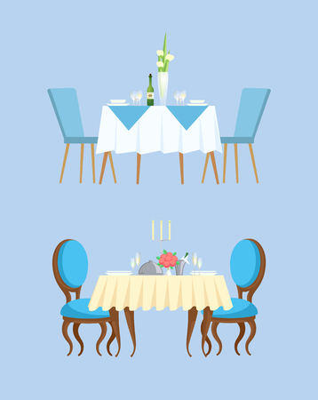 Blue table for couple serving with plates, filled champagne and empty glasses and bottle. Board with chairs decorated by empty dishes and flowers vector Foto de archivo - 125057305