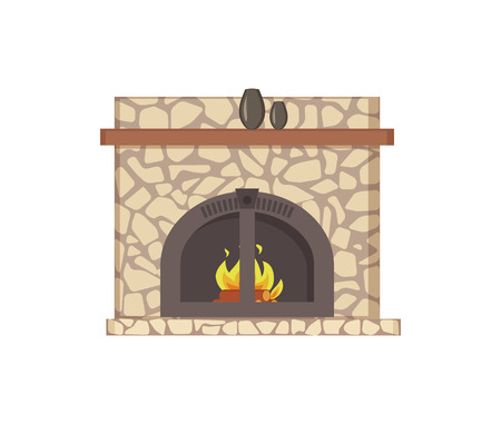 Fireplace with wooden shelf and decor vases isolated icon vector. Paved construction with traditional decoration stones and metal frame material