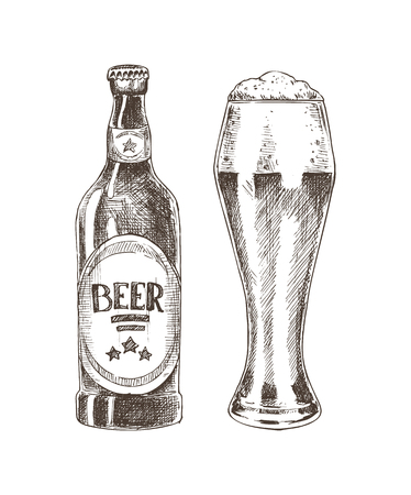 Beer graphic sketch isolated on white background, vector illustration of big goblet and closed glass bottle for alcohol drinks, concept of glassware