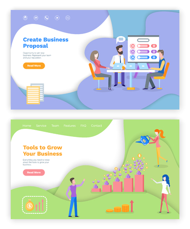 Tools to grow business vector, create project, website or webpage template, landing page flat style. People working on conference woman watering money plant