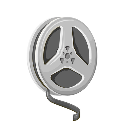 Film reel and twisted cinema tape on white vector. Camera photography strip, media grey element, 3D view of multimedia roll, circle movie equipment