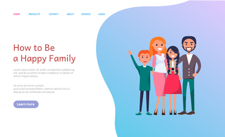 How to be happy family website with people web vector. Page with text sample and cheerful members, father and mother, brother and sister siblings. Webpage template landing page in flat