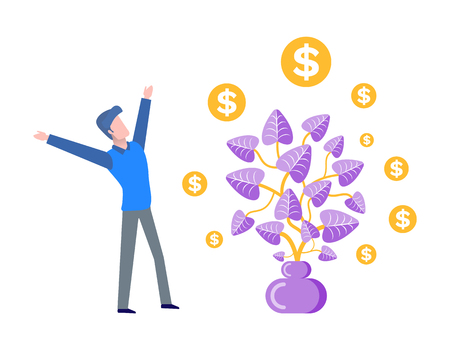 Businessman happy to see harvest of money tree vector. Plan growing in pot, frondage and leaves with dollar signs, flowers in container with soil Stock Illustratie