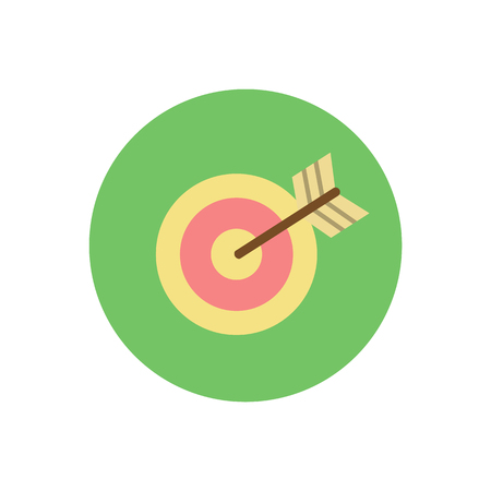 Aim with arrow vector, target strategy of winner isolated icon. Bullseye center, goal of business, dartboard stripes, circular object with rounded frame