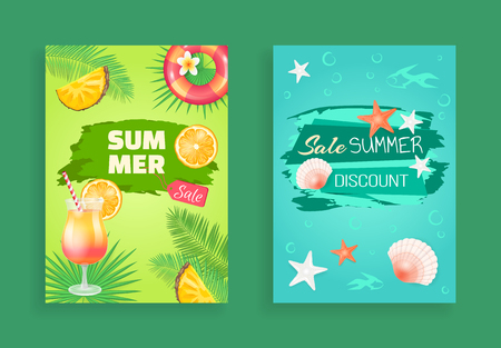 Sale summer best discount vector banners. Promotion and special offers in summertime. Cocktail and pineapple slices, seashells floating in sea water