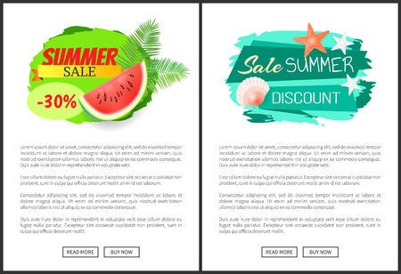 Sale summertime poster with text. Seasonal proposal, reduction of price. Seashell and starfish, watermelon and palm leaves, marine concept leaflets vector