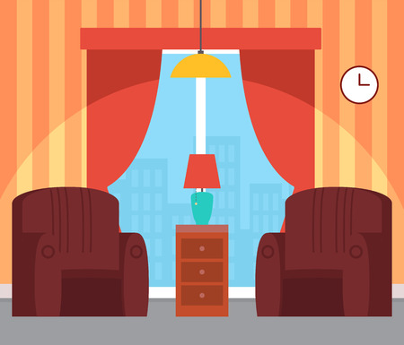 Interior of room with soft armchairs, bedside table with small lamp, panoramic windows with curtains and buildings view, wallpaper in stripes vector