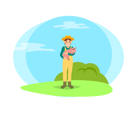 Farmer woman and pig in hands. Female tending animals, breeding of swines. Person surrounded by nature of farmland, farming lady with piglet vector