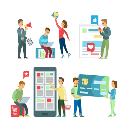 Online shopping website and app, developers and customers vector. Teamwork in web marketing, modern technologies users, credit card and smartphone Illustration