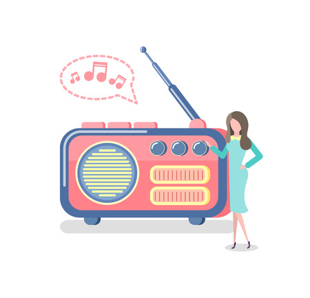 Woman listening to music on retro radio vector. Isolated mass media equipment with antenna, user pressing button on device for broadcasting live news