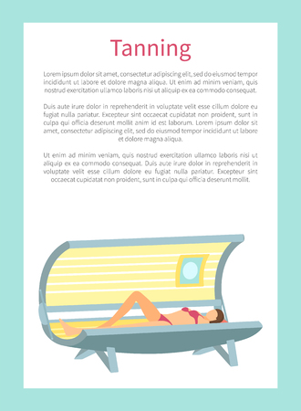 Tanning poster with woman lying in indoors tan case and sunbathing under radioactive ultraviolet rays. Banner with woman getting brown skin vector text Çizim