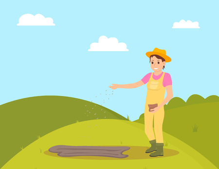 Farmer planting seeds on green field. Woman sowing seeds in ground, plantation of farm surrounded by nature and bushes. Farmland ranch work vector Illusztráció