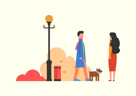 People walking dog in autumn park with bushes vector. Lantern and vegetation of fall season. Man and woman couple with domestic pet on leash strolling