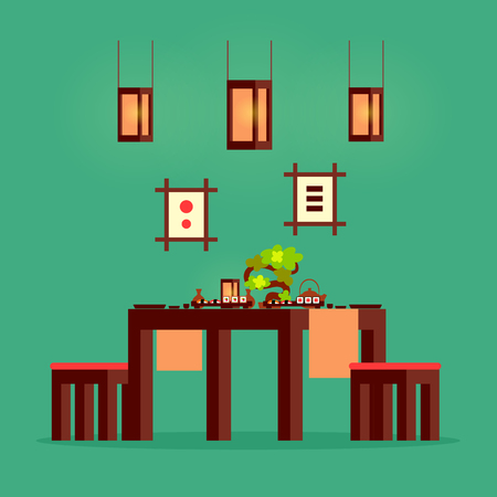 Japanese restaurant table filled with sushi plates vector. Isolated desk with prepared Japan dish, flag and pictures on wall, wooden interior of cafe
