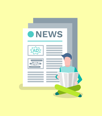 Person reading information from printed publication vector. Journal with advertisements and info text, broadcasting media, man with newspaper pages