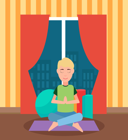 Meditating man sitting cross-legged on floor, training mat and ball. Room with panoramic window and wallpaper in stripes. Workout person indoor vector