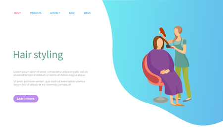 Hair styling woman client sitting in chair, website vector with information. Expert holding dryer making hairdo, customer relaxing on armchair site template. Webpage landing page flat style