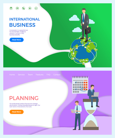 International collaboration, powerful tool for improvement business benefits. Businessman standing on globe, owner of Earth, vector. Planning ahead, hourglass. Website or webpage, landing page flat Illustration