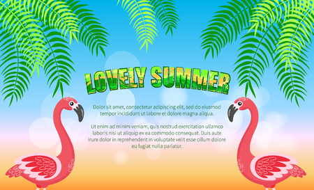 Beach, lovely summer, flamingos and palm leaves vector. Exotic bird and tropical plants, seaside resort, vacation and holidays, seasonal recreation