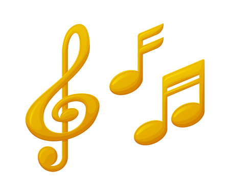 Treble clef and note sign music award, reward of musical players and singers vector. Isolated icons of gold prizes, trophy for winners in music competitions