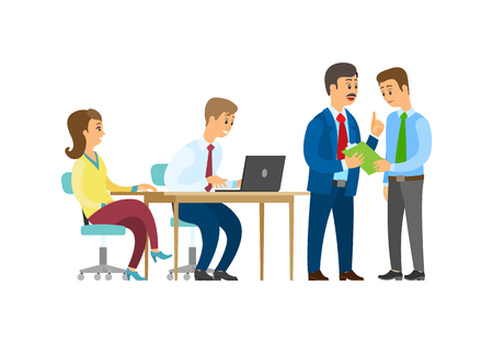 Boss discussing business idea with employee vector. Person typing info on laptop, businessman company owner communicating with team of office workers Çizim