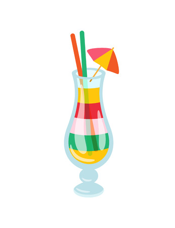 Cocktail made in layers vector, exotic alcoholic drink with tropic decoration. Umbrellas and straws in glass cup with liquid alcohol, shot isolated icon