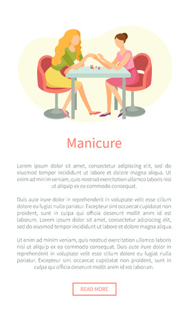 Manicure and hand treatment, nails polishing vector web poster. Manicurist and client sitting at table. Body care procedure on fingers in spa salon