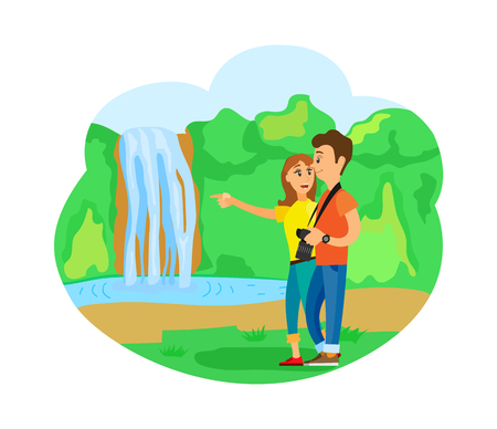 People traveling together vector, waterfall water falling in lake. Man and woman with camera, travelers excited from natural beauty, forest and trees