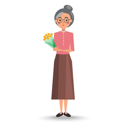 Old woman with grey hair in pink blouse and long skirt stand and holds big bouquet of yellow flowers vector illustration.