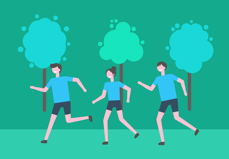 Running man and woman vector, people in leafy park jogging. Students taking care of health and body, sport activities and exercising, fitness and athletics