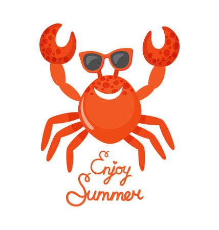 Crab in glasses, enjoy summer, oceanic underwater animal vector. Beach creature with claws and shell, accessory isolated wild species, seasonal recreation