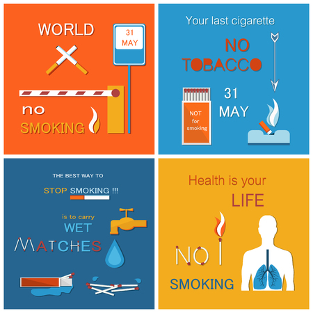 World no tobacco day set of posters asking to stop smoking, 31 May date when you smoked last cigarette, human silhouette with ill lungs, harmful habit