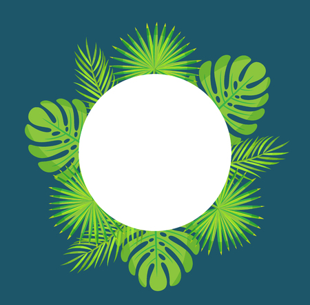 Empty banner for text, leaves exotic decoration vector. Monstera leaves and palm tree branches, tropics greenery, frame of round shape summer style Illustration