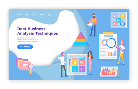 Business analysis techniques online web pages vector. Graphics and charts, success estimation and finance growth website template, landing page flat style