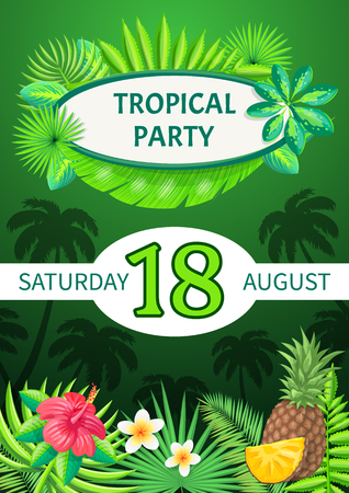 Tropical party theme banner, vector summer placard sample. August Saturday event, pineapple piece and exotic flowers on palm trees and leaves pattern Illusztráció