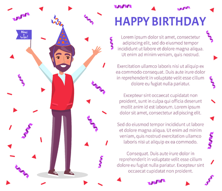 Happy birthday poster, bearded man in cartoon cone shape hat with raised up hands greeting everyone, confetti stripes and circles. Male with flag on party