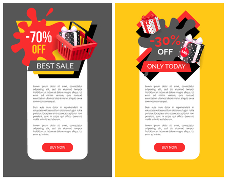 70 percent sale on products vector web site templates. Total price reduction, promo posters with wrapped gift boxes, vector labels or discount emblems