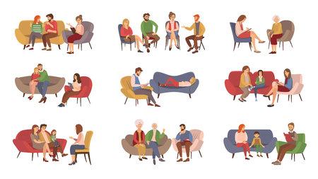 Servicios de psicoterapeuta, vector de sesión de psicoterapia. Parejas y familias, niños y adolescentes o adultos que reciben ayuda psicológica, grupo de rehabilitación. Ilustración de vector