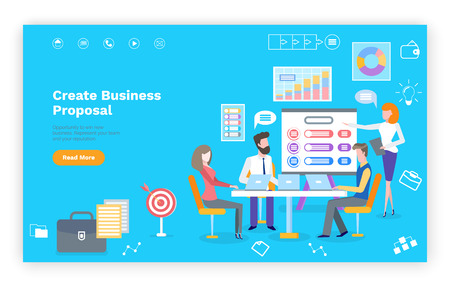 Create business proposal template website, teamwork with laptops.