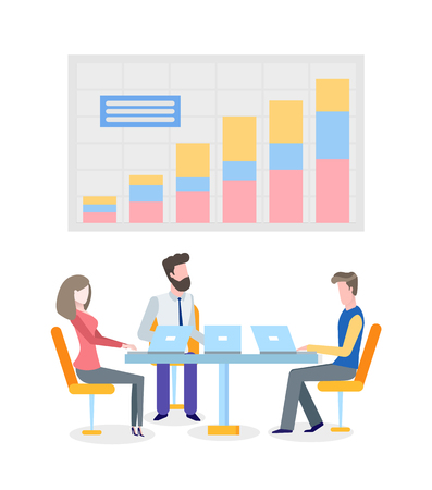 People discussing business problems finding solution vector. Workers with laptops talking about graphics, projects results information on chart board