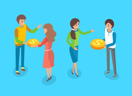 Crowdfunding people giving gold coins vector, cash money business development. Cooperation of man and woman, funding of enterprises strategy investment