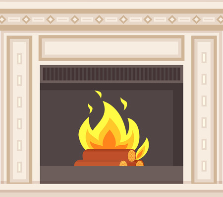 Fireplace closeup burning logs inside of stove vector. Hot fire flames and wooden material, bluestone classic decoration of home interior, marble frame